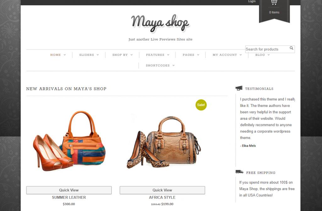 MayaShop best ecommerce theme in WordPress